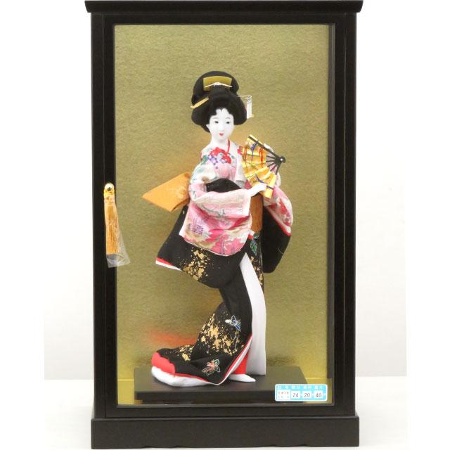 尾山人形 舞扇 6号 ガラスケース入り