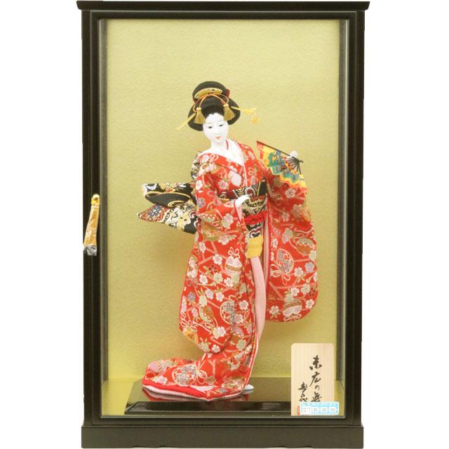 尾山人形 金襴 舞扇 10号 ガラスケース入り