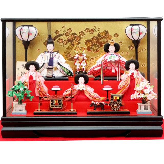 彩春 五人飾 彫金桜ガラスケース入り