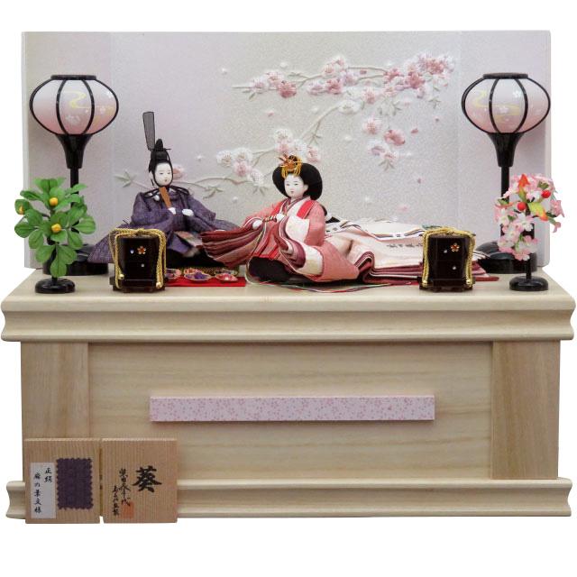 柴田家千代 葵 正絹麻の葉文様 白桜刺繍桐収納飾