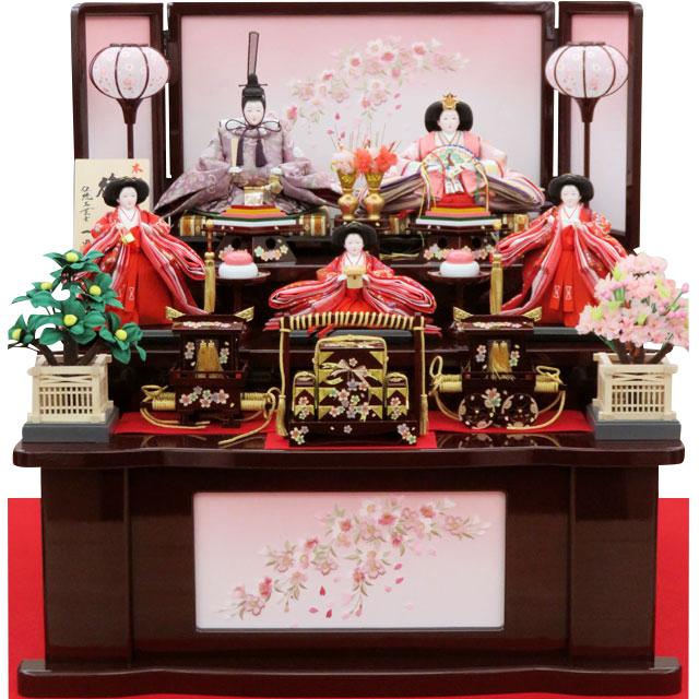 一晃 五人飾 桜刺繍溜塗三段飾