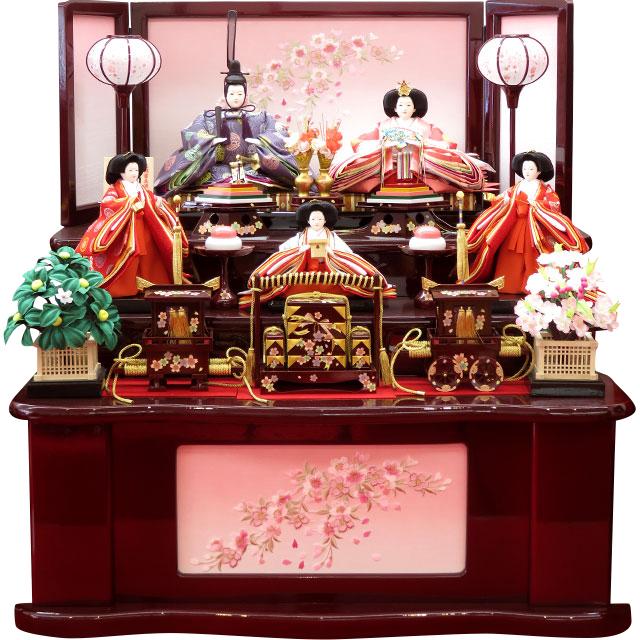 オリジナル正絹四丁雲立涌向鶴丸紋 五人飾 桜刺繍溜塗三段飾