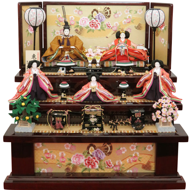 正絹黄櫨染親王 金彩牡丹刺繍 五人三段飾