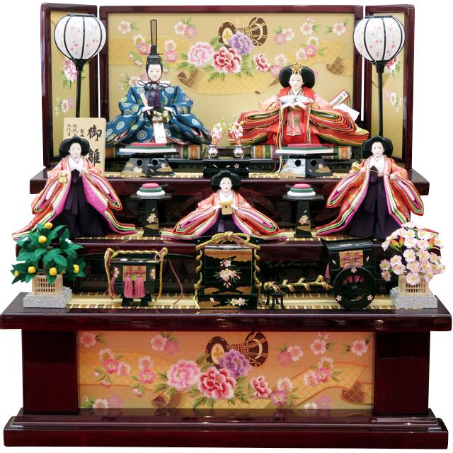 岡田栄峰 琳派名物裂麻葉地新華紋 金彩牡丹刺繍 五人三段飾