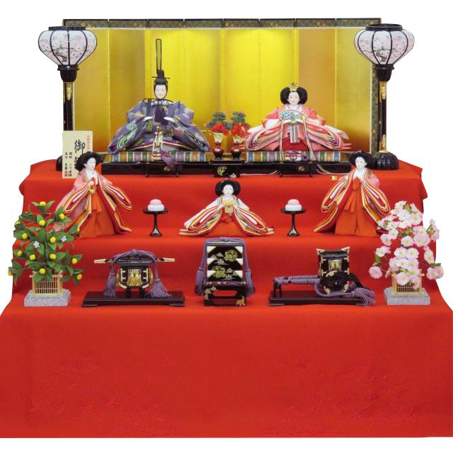 京十番親王 正絹雲立涌地向鶴丸紋 五人三段飾 三人官女ピンク