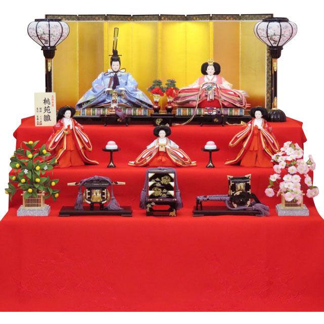 京十番親王 正絹菊菱紋 五人三段飾 三人官女赤