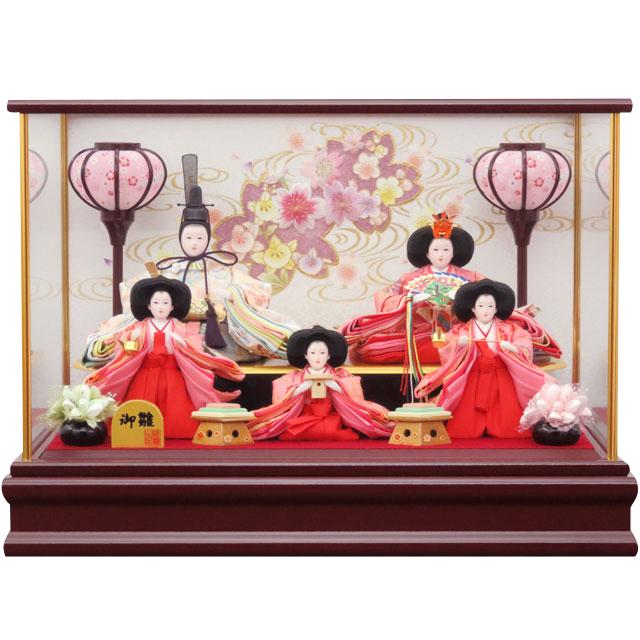 御雛 金襴花雛 桜刺繍 芥子五人飾