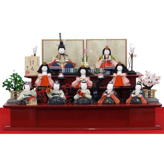 松崎幸一光 はる 十人飾朱塗木製三段