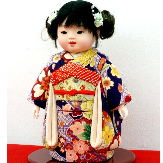 公司 木目込市松人形 巻き髪 振袖