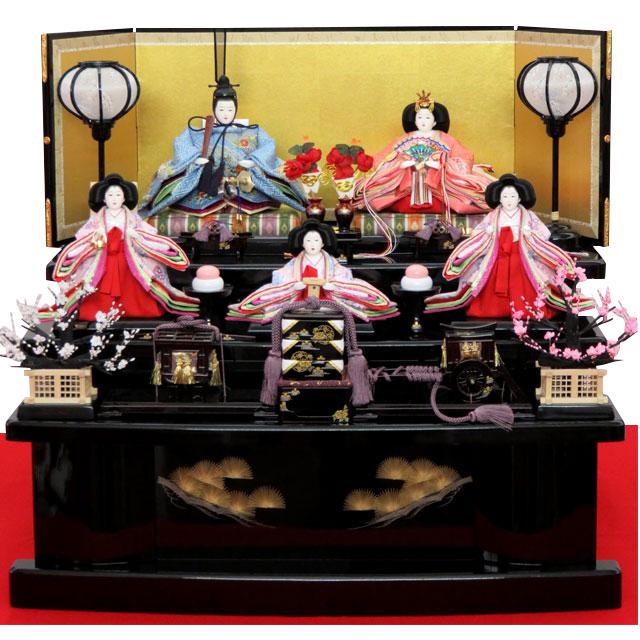 吉藤 彩 花扇刺繍五人三段飾