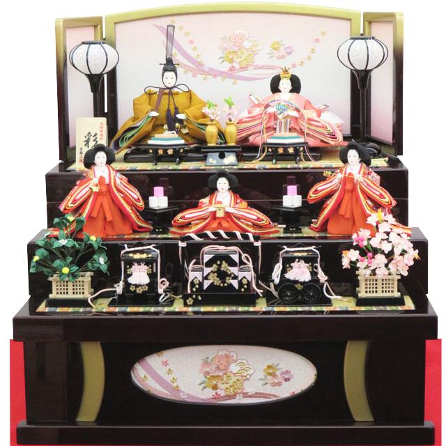 吉藤 彩 黄櫨染五人三段収納飾り