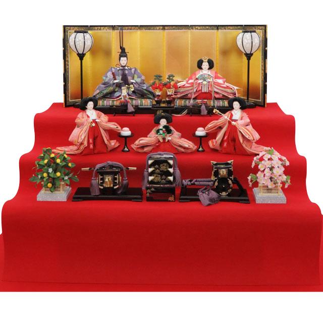 泰玉オリジナル 京十番親王 正絹雲立涌地向鶴丸紋 五人三段飾
