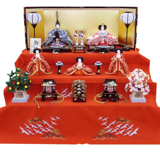 泰玉オリジナル 京九番親王 正絹雲立涌地向鶴丸紋 五人三段飾