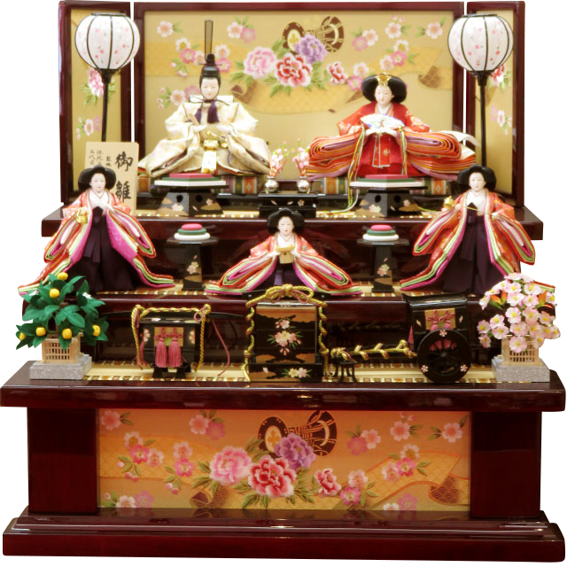 岡田栄峰 金襴雛 金彩牡丹刺繍 五人三段飾
