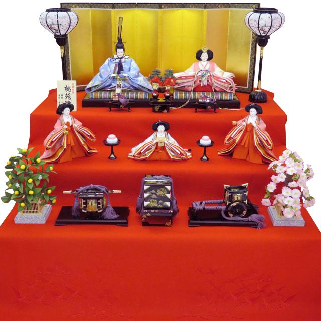 京十番親王 正絹菊菱紋 五人三段飾 三人官女ピンク