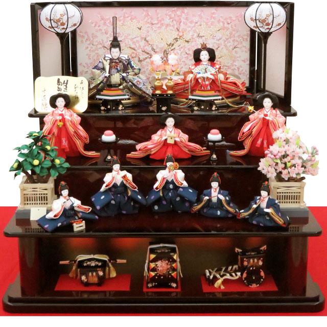 雛ごよみ 桜爛漫 十人三段飾