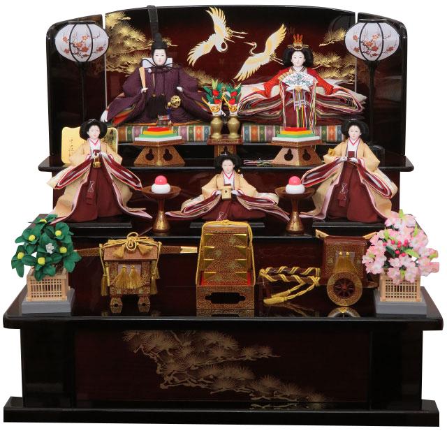 雛ごよみ 祝鶴 三段五人飾