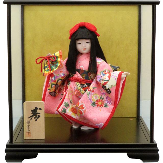 舞踊人形 寿 舞扇 ピンク友禅
