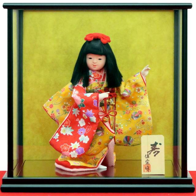 舞踊人形 寿 福鈴 黄赤友禅手毬