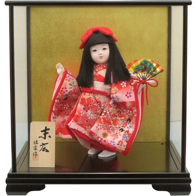 舞踊人形 末広 舞扇 ピンク友禅