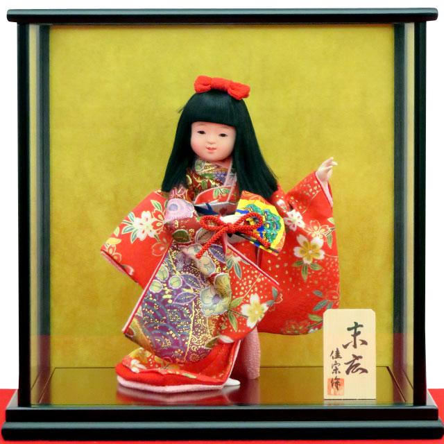 舞踊人形 末広 舞扇 赤友禅