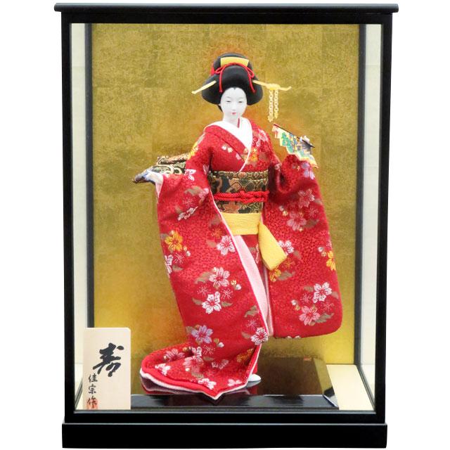 日本人形 寿 舞扇 8号 赤