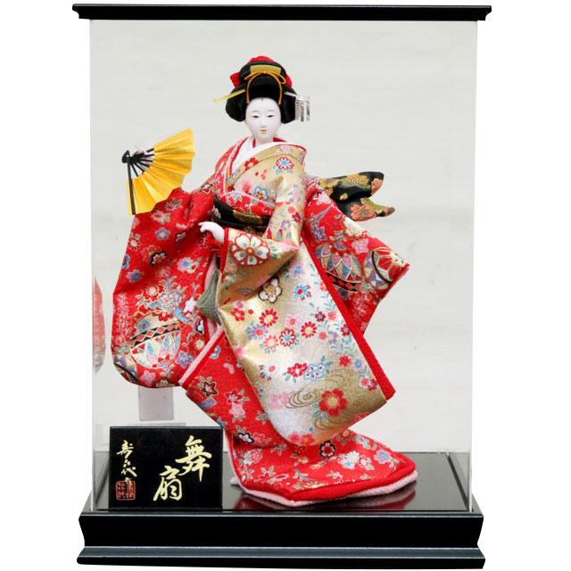日本人形 舞扇 6号 赤友禅 アクリルケース入り