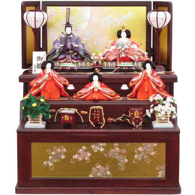 月の香 金彩月に桜づくし 五人三段収納飾
