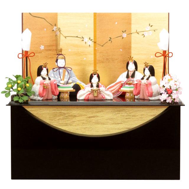 一秀 さくら雛 五人飾 枝小桜収納