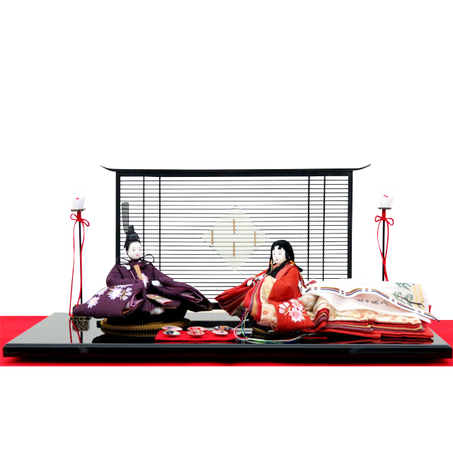 柴田家千代 親王飾 葵 平安 正絹 貝合わせ 紫桜ちらし刺繍