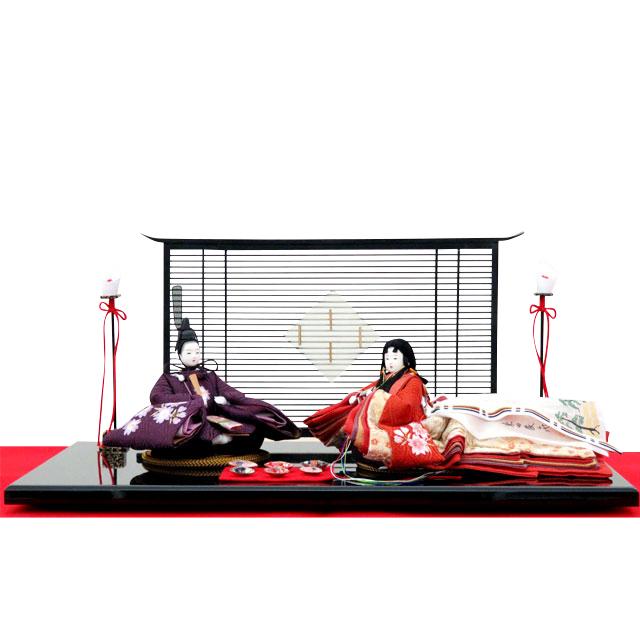 柴田家千代 親王飾 葵 平安 貝合わせ 紫桜ちらし刺繍