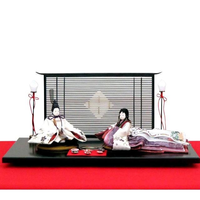 柴田家千代 親王飾 葵 平安 貝合わせ 白桜刺繍