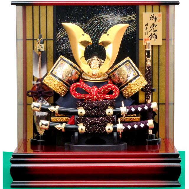 12号 彫金大鍬形兜飾 三面アクリルケース