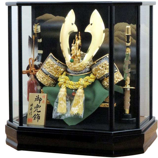 12号 彫金兜飾 六角黒塗ケース
