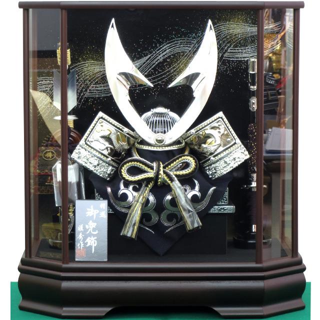 12号 シルバーハヤブサ彫金兜飾 六角茶塗ケース