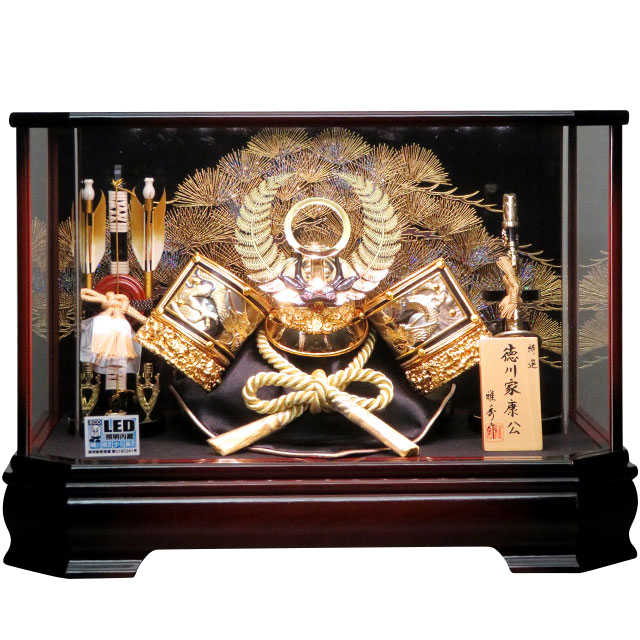 13号 彫金徳川兜飾 LED付前面アクリルケース飾り