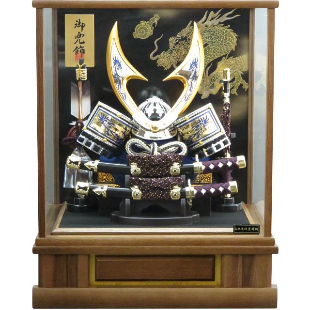 12号 銀青透かしハヤブサ兜飾 タモケース