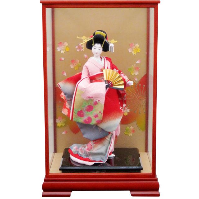 日本人形 扇 箔押し手描き 桃源10号
